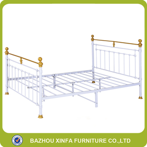 Gloden Painting Palace Royal Cheap Iron Double Bed Design