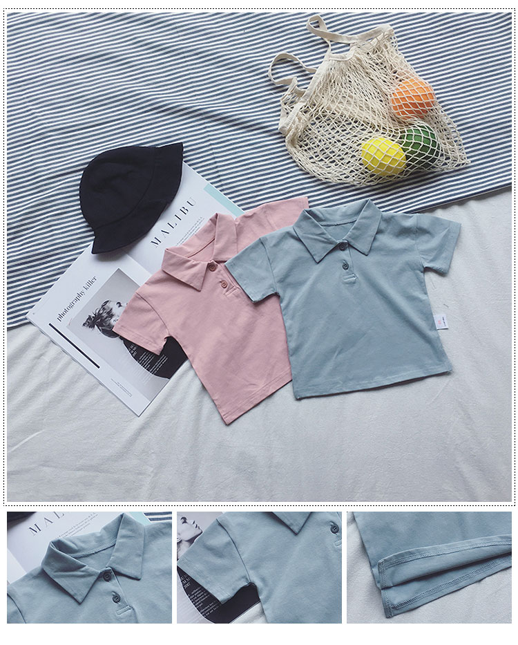 Factory wholesale simple design pure color polo collar baby t-shirt 1931