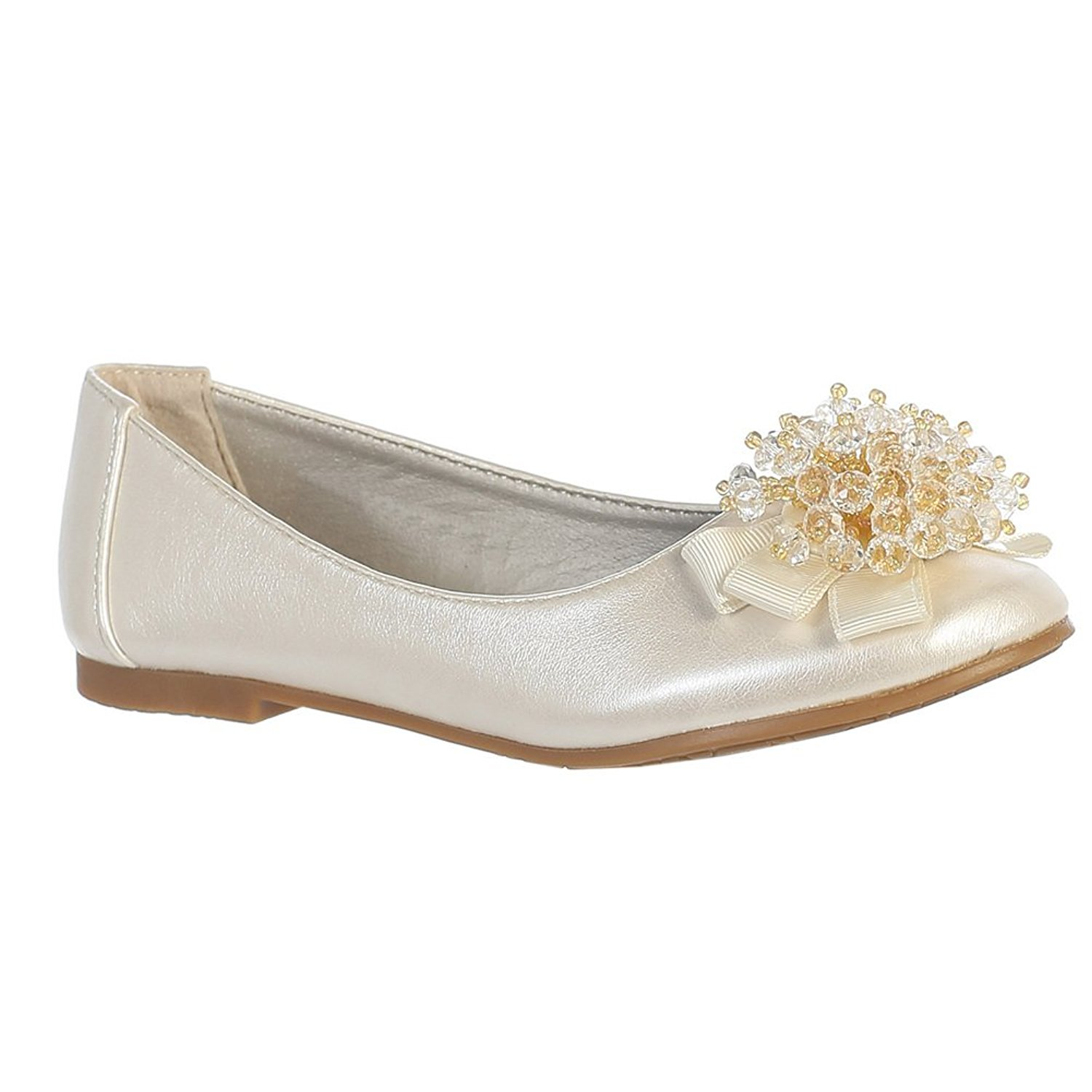 Lito Girls Ivory Crystal Bead Bow Anna Special Occasion Dress Shoes 5-10 Toddler