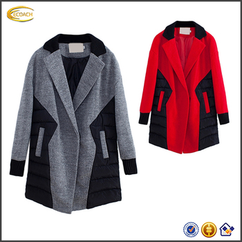 4457401f30f Ecoach latest coat designs for women winter Western Style Top Fashion Color  Block Peacoat ladies long
