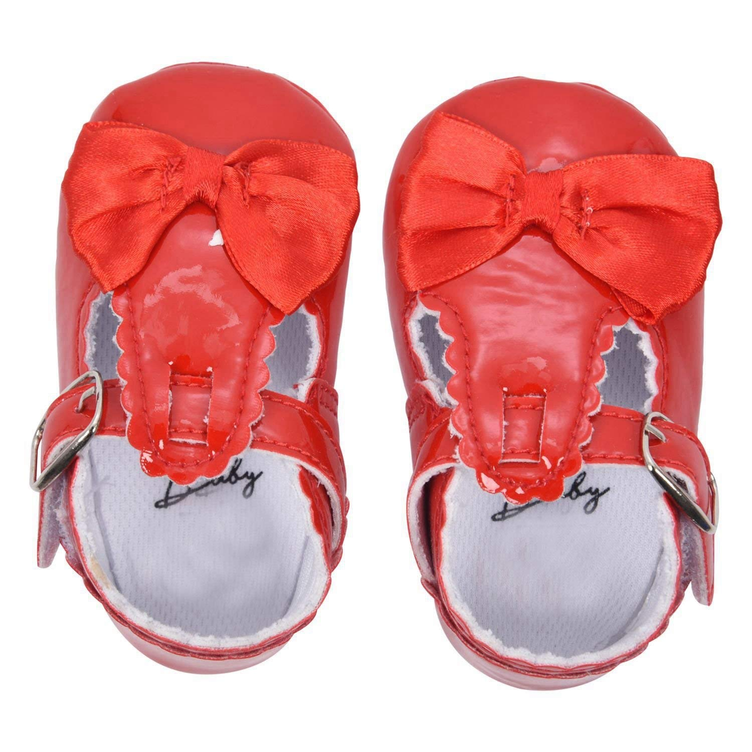 0fb3b539f657 Get Quotations · SODIAL(R) Newborn Baby Girl Bow Anti-slip Crib Shoes Soft  Sole Sneakers