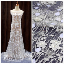 handmade pearl beads 3D flower French Lace for wedding dress mesh lace for bridal with Embroidery