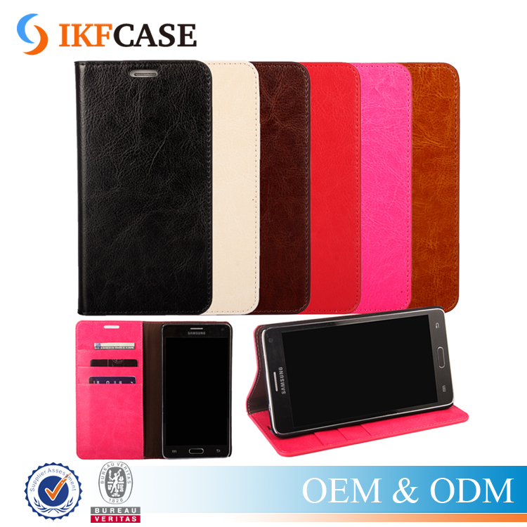 Real Genuine Leather Case for Samsung Galaxy Note 4 Wallet Style Flip Stand Case