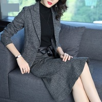 Wholesale Winter Ladies Office Skirt Suit Wear Women Wool Coats Skirt Business Suits