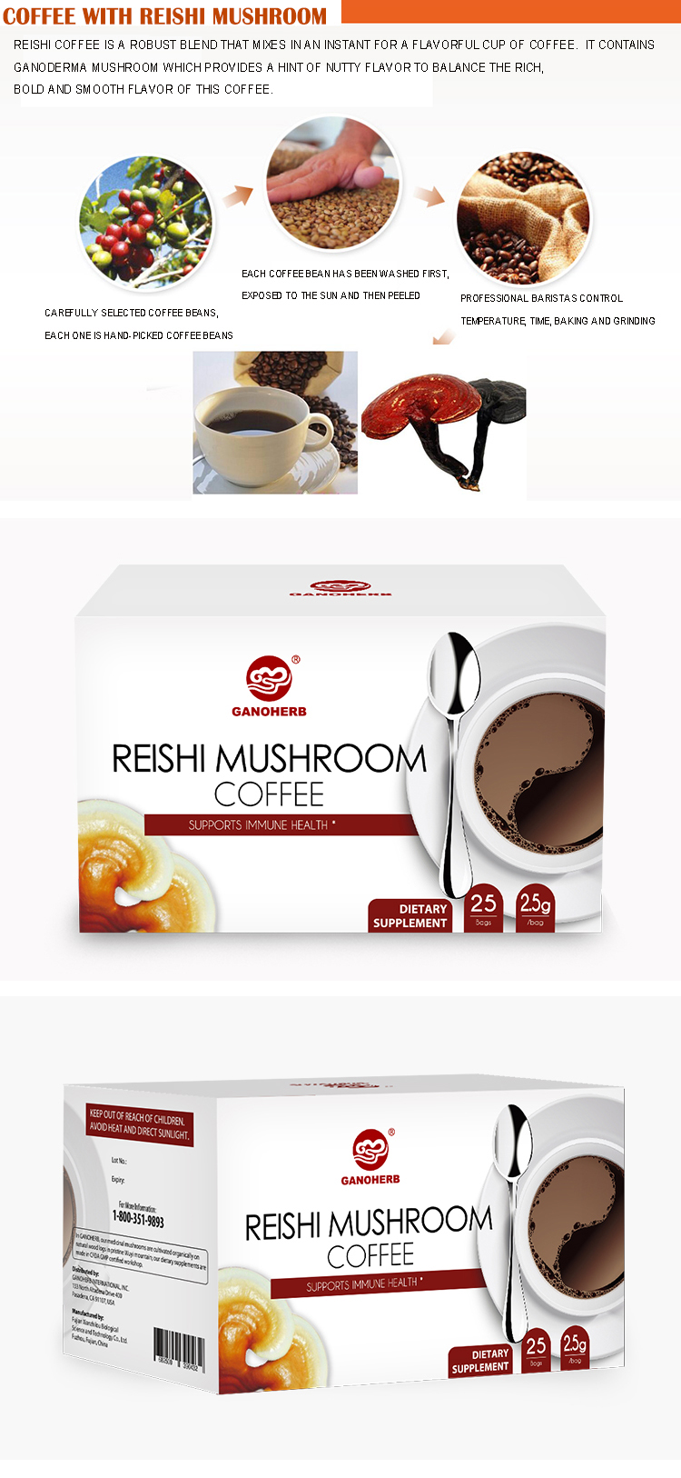 PRIVATE LABEL Reishi Mushroom Flavored Instant Coffee 3 in 1