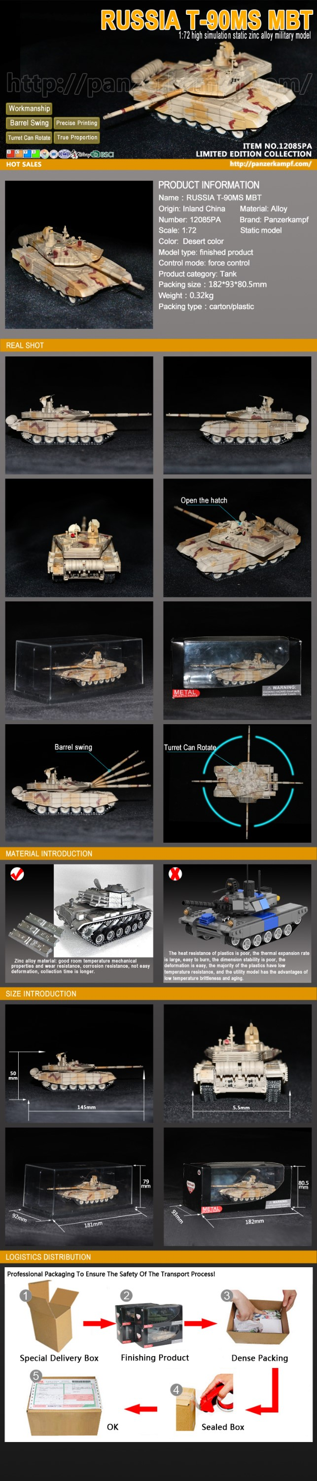 Original manufacturer 1:72 Scale Russian Army T-90MS Tank collection Panzerkampf Diecast Toy Model Tank Military Model