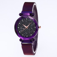 2019 Hot sales Low MOQ Women Quartz Star Watch clock OEM lady Reloj Bracelet Mesh strap Wrist Shinning Ladies Watches