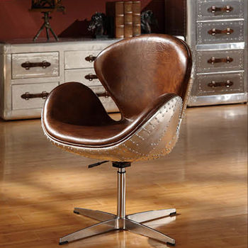 Aviator Arne Jacobsen Aluminium Spitfire Vintage Leather Swan Chair