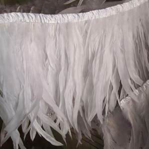 BY-0811- 10-12inch all white rooster feather trim fringe samba dress decoration
