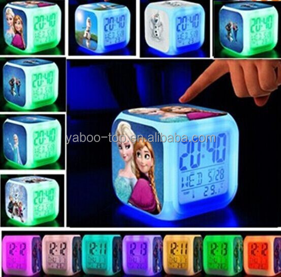 (Hot) 2017 Hot Movie Frozen LED Alarm Clock, Digital Alarm Clock, Cartoon Clock for Kids