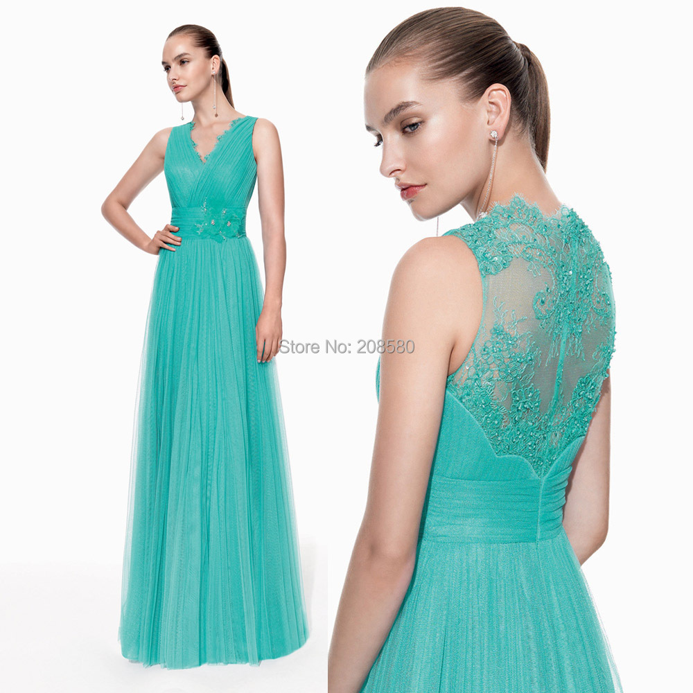 Special Occasion Dresses Vestido de Festa 2015 Green V Neck Tank Pleated Lace Long Evening Prom Gowns Beaded E6421
