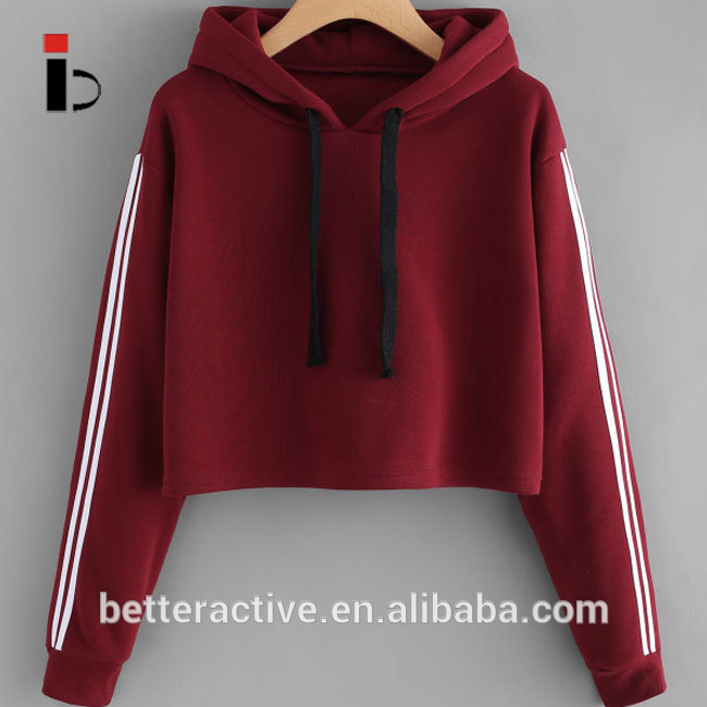 Hot Sale Women Striped Sports Gym  Pullover Drawstring Hoodie