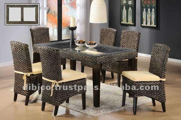7 unids de comedor de madera y natural rattan 2012 muebles for Disenos de muebles de comedor modernos