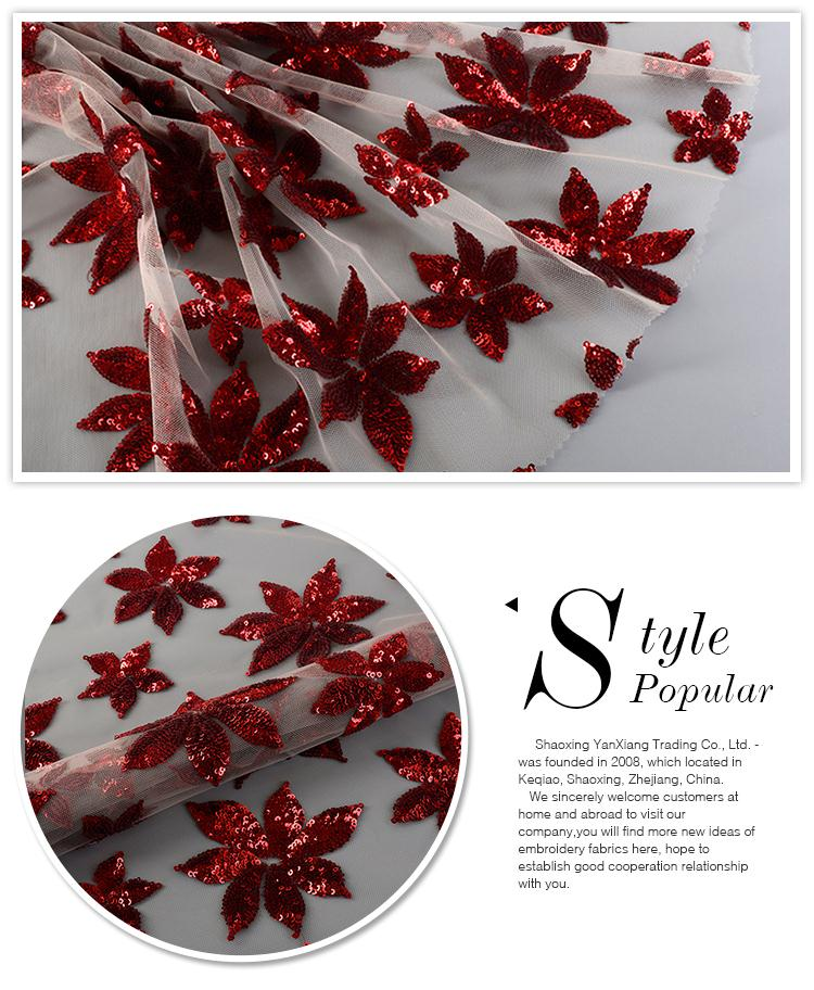 New style fashionable comfortable floral poly red bridal tulle fabric sequin