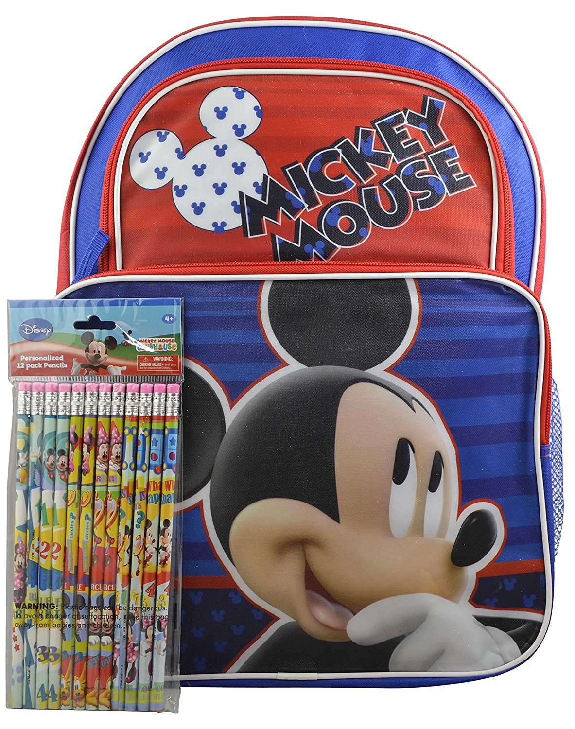 "Disney Mickey Mouse Clubhouse Boys' 16"" Backpack w/ Bonus12pk Pencils New"