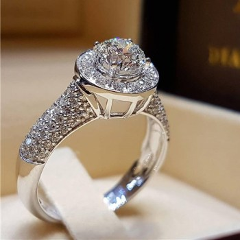 Luxury Zircon Wedding Rings For Women White Gold Color Engagement Rings Female Crystals Anel Bijoux Top Quality
