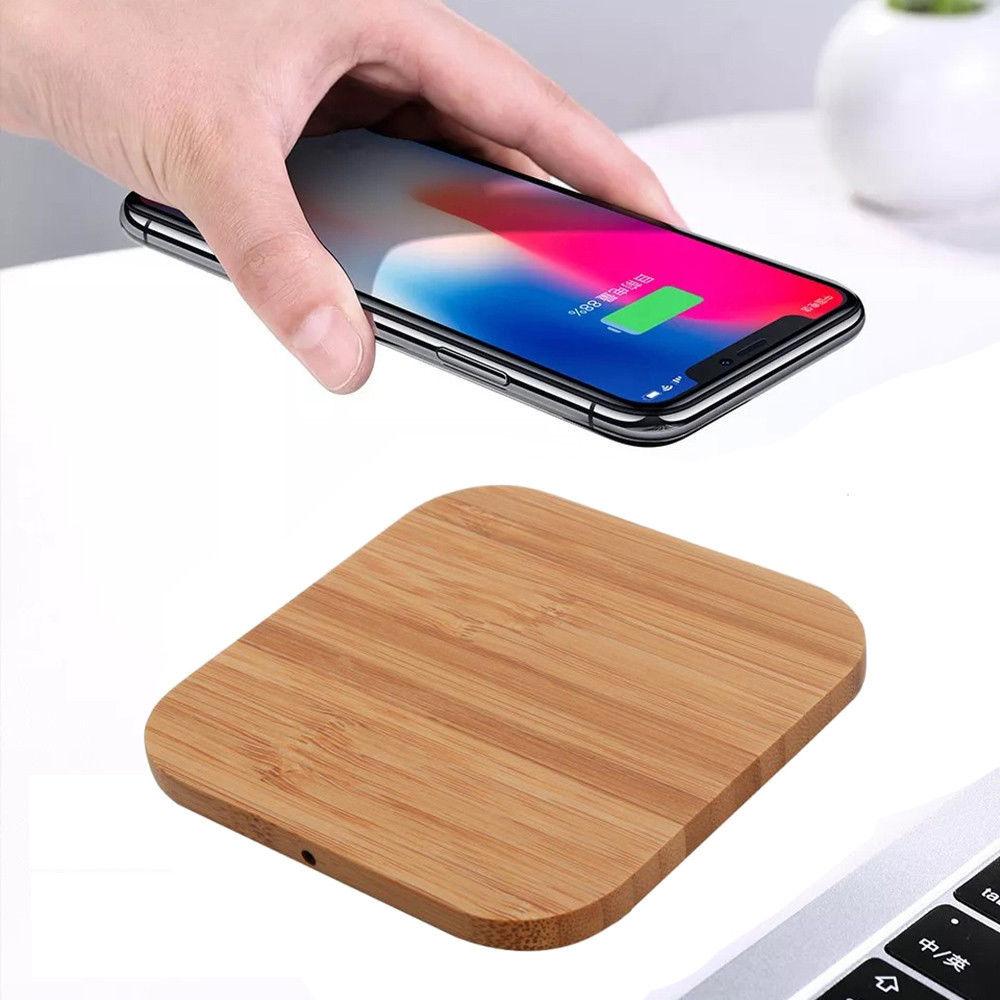 Amazon top verkoper 2019 Mobiele telefoon accessoires heetste houtnerf inductie snelle qi draadloze oplader voor lader draadloze