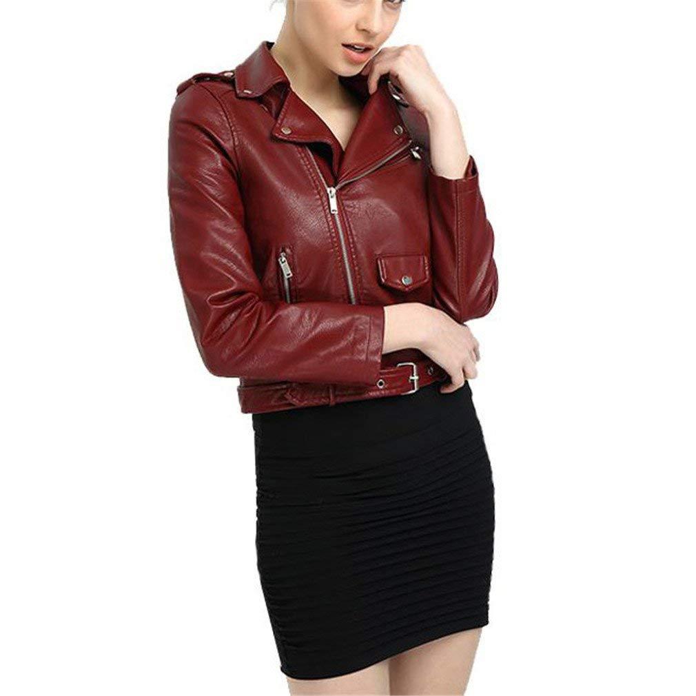 73e1ba259e Get Quotations · DSRTGWS Faux Leather Jacket Women Pink Punk Fashion Biker  Coat Slim PU Leather Jacket Soft Motorcycle