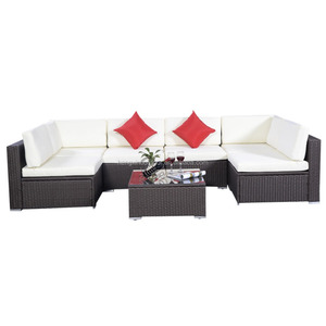 7PC outdoor Furniture Sectional Wicker Patio Rattan Sofa Set