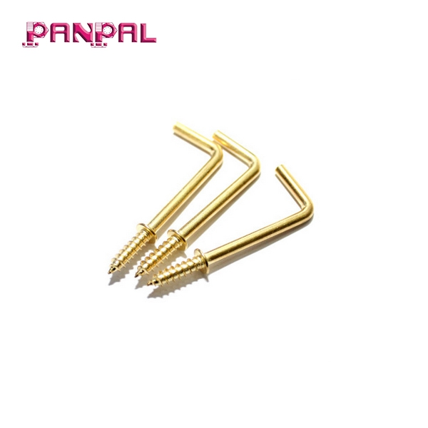 BSCI Approved Factory Price Hot Sale Brass Plated Steel Square Cup Hooks with Shoulder Dresser Hook Cup Hook