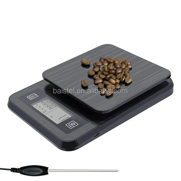 3kg 0.1g USB Digital Electronic Kitchen Food Coffee Scale with Timer LCD Display Thermometer Probe Tare Multifunction