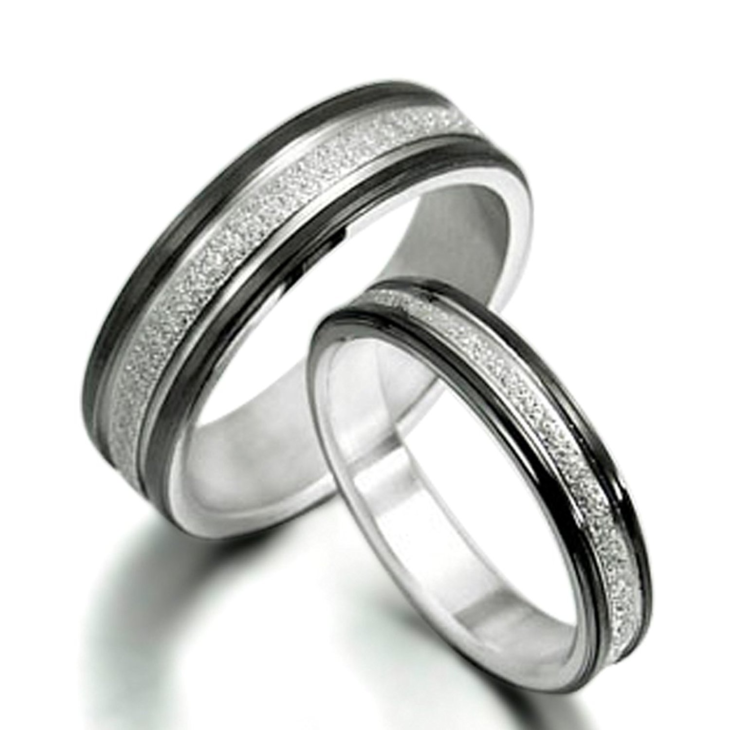 7ad256e82b Get Quotations · Gemini His and Her Black Titanium Promise Rings Couple  Matching Wedding Rings Set 6mm & 4mm