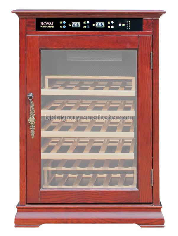 Bisini Solid Oak Wood Wine Cooler Cabinet Wine Bar Cabinet With Glass Door