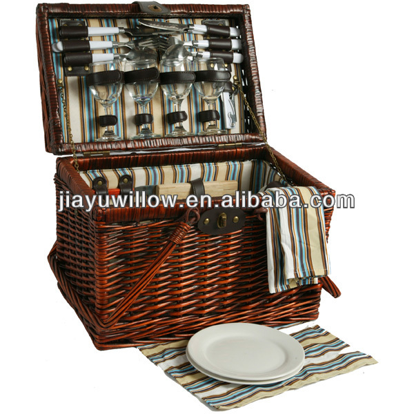 2013 Portable rectangular willow 4 person picnic hamper with fabric