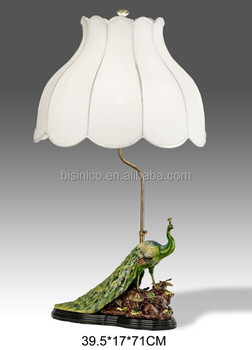 Hand Painted Porcelain Table Lamp With Shade Bronze Base Peacock