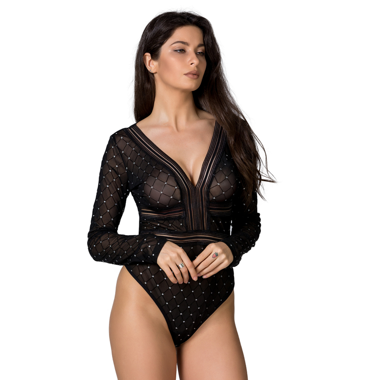 Mature Women clothing Backless Lace Deep V Long Sleeve Sexy Transparent Bodysuit