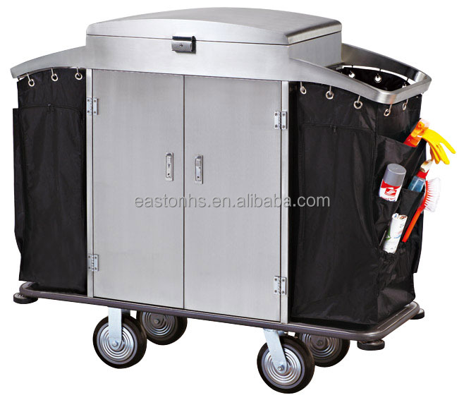 Stainless steel maid cart or housekeeping trolley for hotel and restaurant