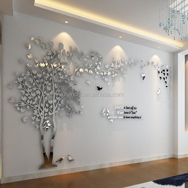 3d Mirror Tree Acrylic Wall Stickers Creative Lovers Tree