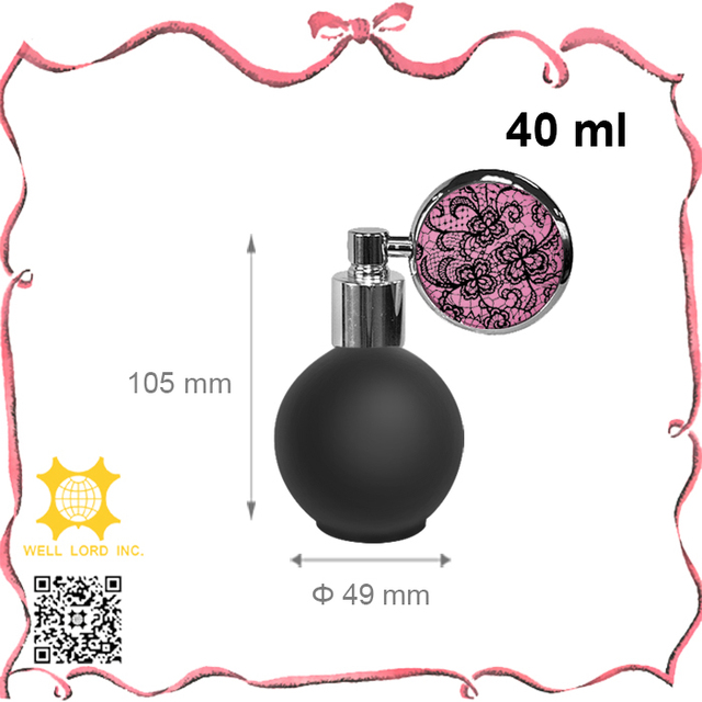 Unique design frosted black empty 40ml round glass atomizer perfume