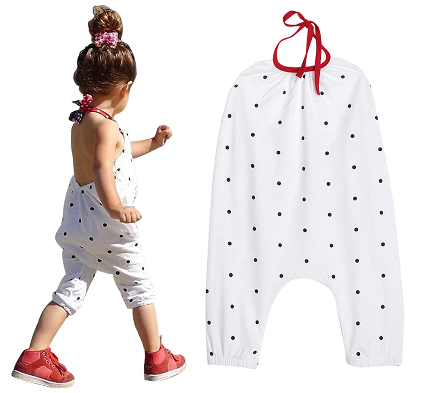 124d44ffa Get Quotations · EGELEXY Baby Girls Fashion Strap Polka Dot Harem Pants  Romper Jumpsuits Outfits