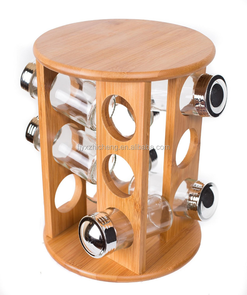 Manufacturer bamboo wooden round revolving spice rack with 12 glass jars with lids buy bamboo round spice rackbamboo spice rackwooden revolving spice
