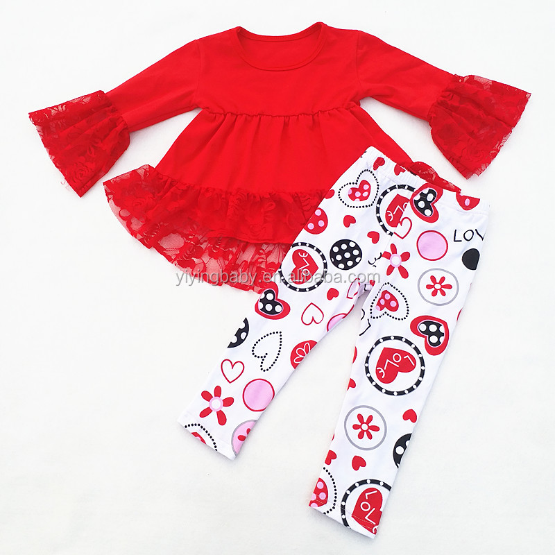 Latest Fashion <strong>Design</strong> <strong>Girls</strong> Valentine's Day Lace Clothes Custom Floral Leggings Valentine Outfits Set