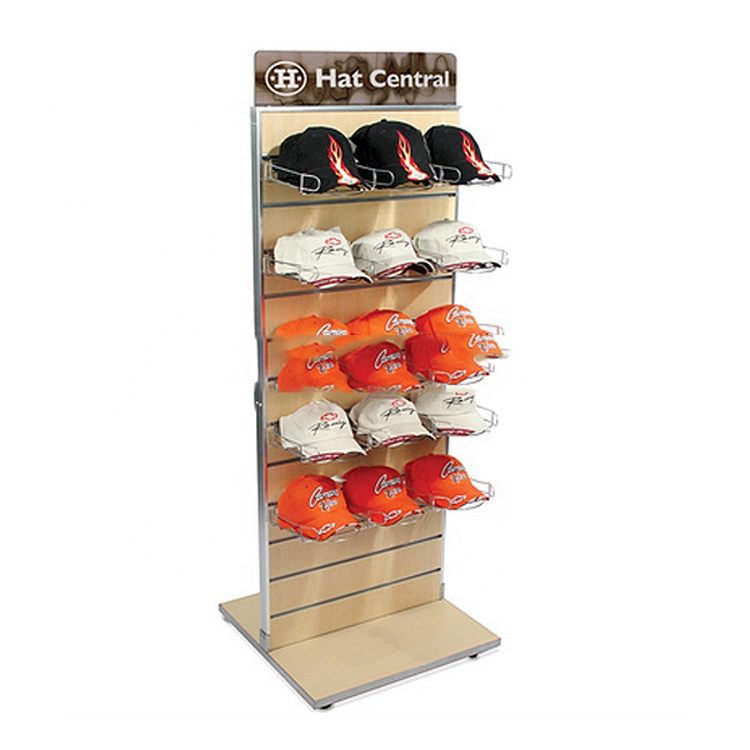 Custom double side floor slatwall retail store wood hat or end cap display rack <strong>stand</strong>