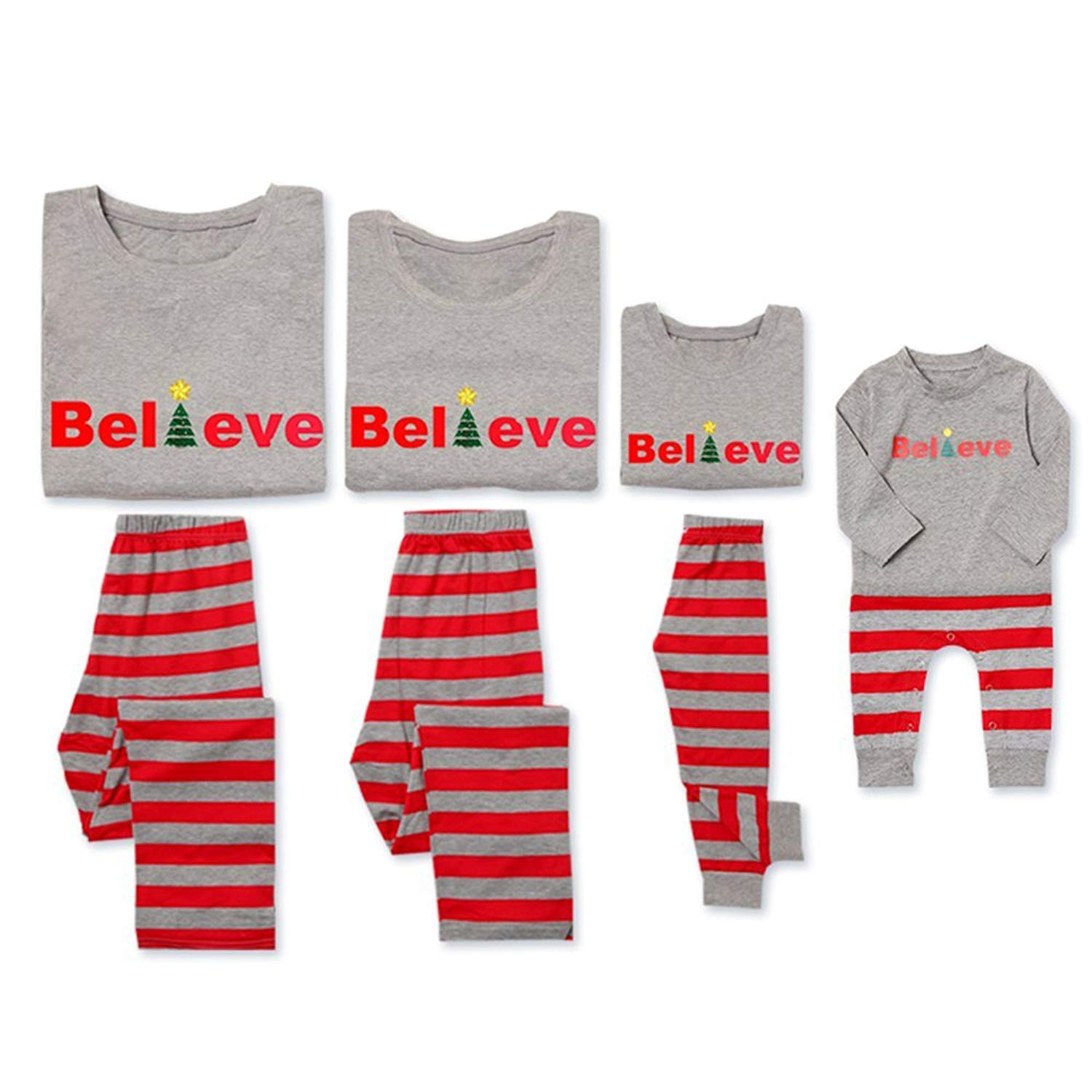 adad995116 Get Quotations · PatPat Dad Mom Baby Kids Family Matching Christmas Striped  Pajamas Set Sleepwear