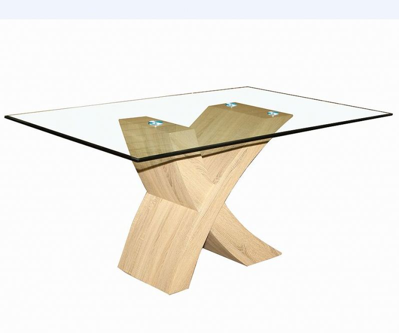 MDF wood base X shape square glass dining tables
