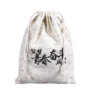 Custom Printing Small Size Organic Cotton Canvas Drawstring Bag Dust Pouch
