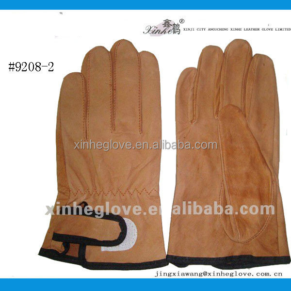 brown color leather safety <strong>gloves</strong> with velcro for korea market