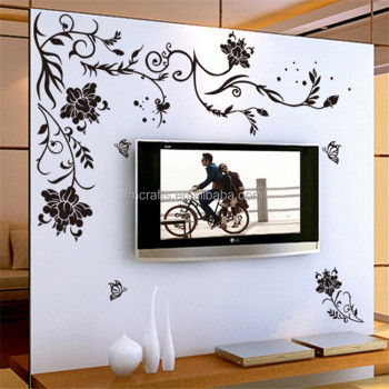 Home Decoration Creative Black Butterfly Wall Sticker Flower Wall Stickers  For Living Room Wall Decal AY9166 Part 78