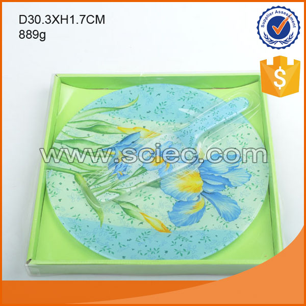 889g high quality blue flower decal round glass plate for sale