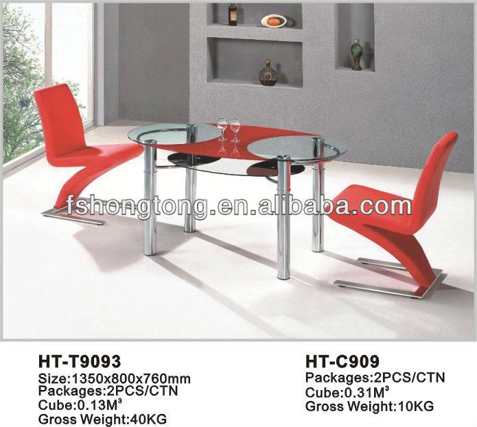 ronda de vidrio mesa de comedor con dos sillas de color rojo-Sets ...
