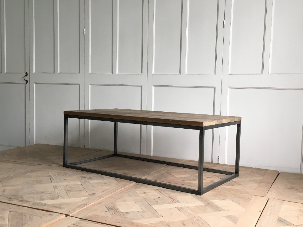 industrial antique wooden top coffee <strong>table</strong> used for home indoor with metal frame