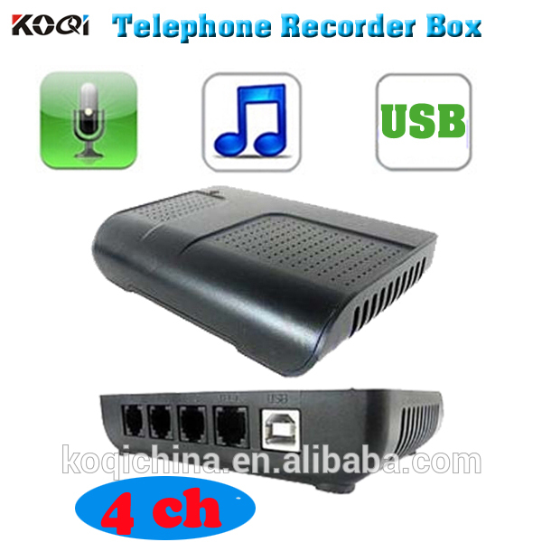 Smart call recorder box telephone voice logger 4 line voice spy recorder