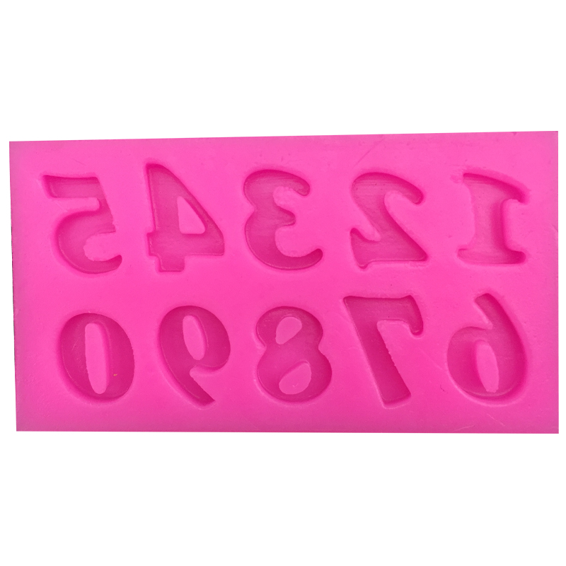 Free shipping 0 9 digital 3 d mold shape silicone kitchenware non stick cake decoration fondant