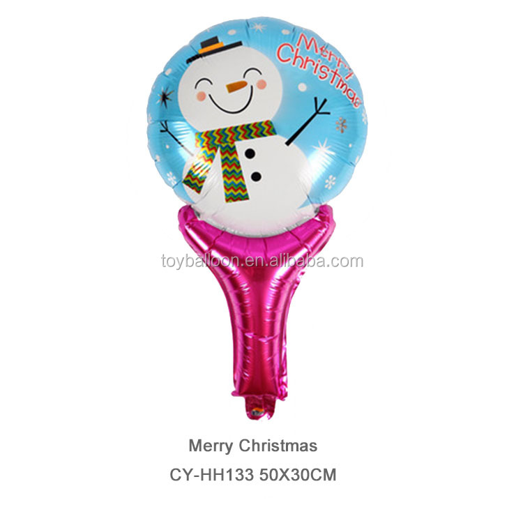 CYmylar helium balloons Christmas party decoration foil snowman santa claus hand holder balloons