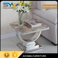 2017man made marble top stainless steel side table end table for sale JJ038
