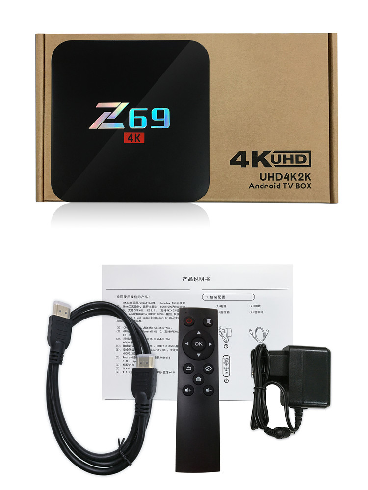 Original supplier product Z69 Android 4K HD S905X 3GB/32GB android smart tv box with best price